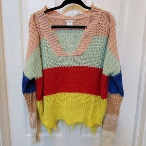 Multi color tattered sweater